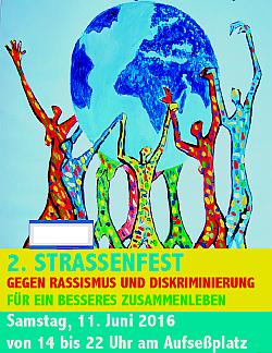 Plakat des 2. Strassenfest gegen Rassismus und Diskriminierung