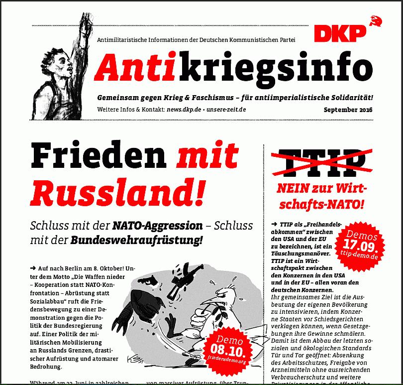Screenshot der Vorderseite des Antikriegsinfo der DKP zum Antikriegstag