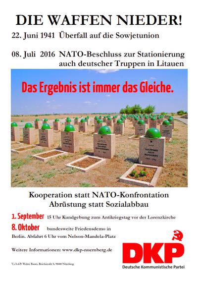 """Das Plakat zum Antikriegstag """"Die Waffen nieder"""""""