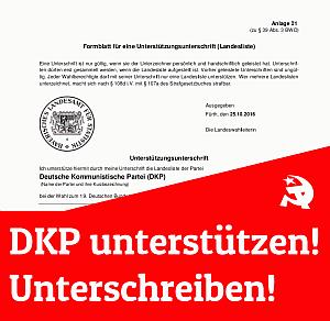 Bundestagswahl 2021: Allein in Bayern 2000 Unterstützungsunterschriften für die DKP notwendig!