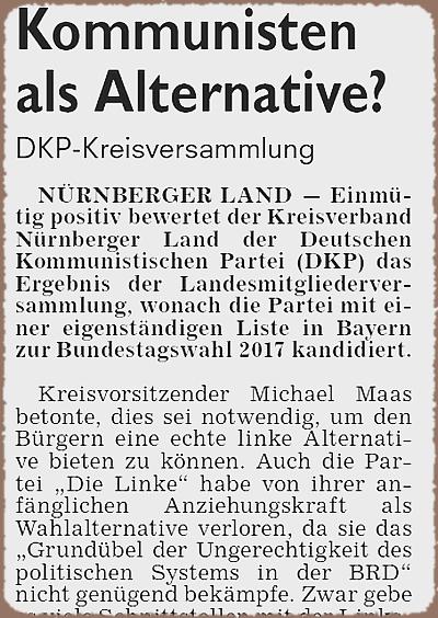 """Bild: Ausriss aus der Pegnitzzeitung vom 7. Dezember 2016 """"Linke Alternative"""""""