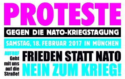 Plakat: Protest gegen die sog. NATO-Sicherheitskonferenz am 18. Februar 2017