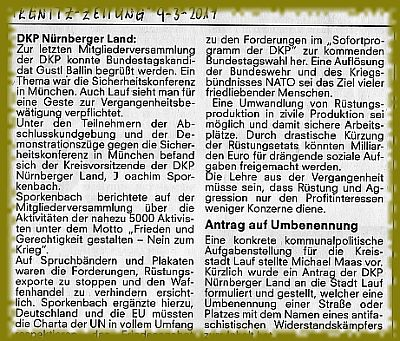 Ausriss aus der Pegnitzzeitung: DKP ist Friedenspartei