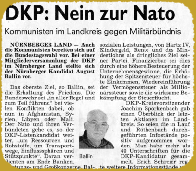 DKP Nürnberger-Land: Nein zur NATO