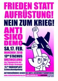 Plakat gegen die Sicherheitskonferenz