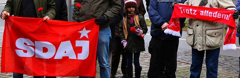 Foto von der Kundgebung für Liebknecht - Die SDAJ Würzburg
