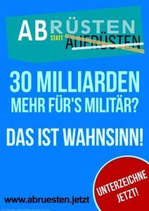 """Plakat """"Abrüsten"""" -- Antikriegstag 2018"""