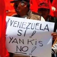 Bild: Fahne der PCV - Venezuela si - yankis no ! - Gegen den Putschversuch!