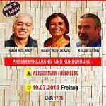 Plakat: Haftbefehle im Münchner KommunistInnenverfahren gegen die Nürnberger Ärztin Banu Büyükavci u.a. erneut außer Vollzug gesetzt