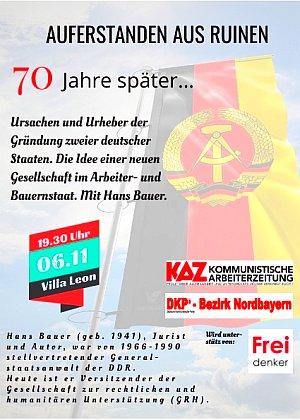 Plakat: Vor 70 Jahren: Gründung der DDR