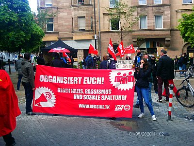 Bild: Kundgebung in Gostenhof. - Nürnberg am 1.Mai 2020: Revolutionärer 1. Mai trotz Corona.