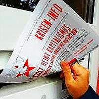 Bild: Kriseninfo der DKP - Die Krise heißt Kapitalismus - Die Reichen müssen zahlen!