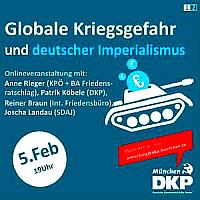 5. Feb: Online-Veranstaltung: Globale Kriegsgefahr und deutscher Imperialismus