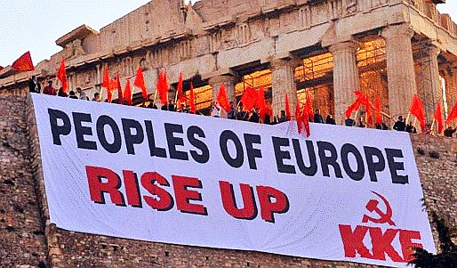 """Bild """"Peoples of Europe Rise Up"""" zum Aufruf der KKE (Kommunistische Partei Griechenlands) zum Ostermarsch"""