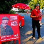 Bild: Hannes Meist beim Infostand in Fürth - Zum Artikel Hannes Meist bei Radio Z